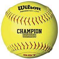 Softbol A9306 de la serie ASA de Wilson (paquete de 12), 11 pulgadas, amarillo óptico