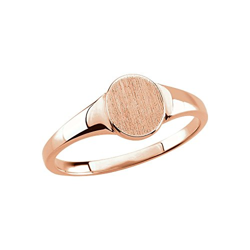 - FB Jewels 14K Rose Gold Solid Oval Signet Ring Size 7