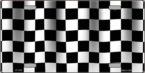 Smart Blonde Waving Checkered Racing Flag Vanity Metal Novelty License Plate Tag Sign