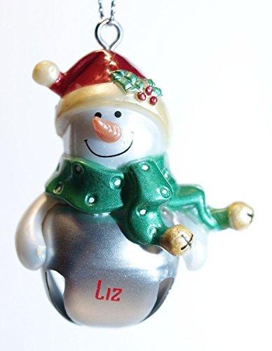 Ganz Snowman Silver Jingle Bell Personalized Ornament- Don (Jingle Bell Personalized)