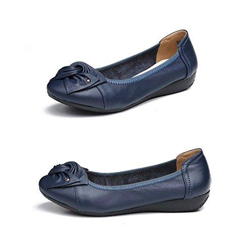 Minetom Verano Mocasines Mujer Cómodo Piso Zapatos de Conducción con Bowknot Casual Planas Cuero Loafers Zapatillas Azul