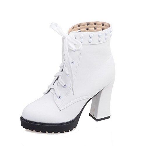 VogueZone009 Damen Hoher Absatz Rein Rund Zehe Weiches Material Schnüren Stiefel, Weiß, 41