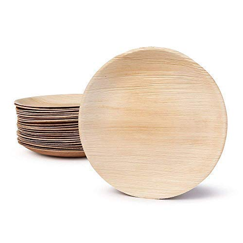 - Large Palm Leaf Dinner Plates - Environmentally disposable tableware | 25 pieces | 10 Inches round | 1 inch deep |Bamboo Style | Biodegradable & Compostable