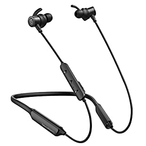 SoundPEATS Bluetooth Headphones, Force Wireless Neckband Headset Stereo Bass in-Ear Magnetic Earbuds for Workout (16 Hours Playtime, Built-in Mic, CVC 6.0, IPX5) (Black)