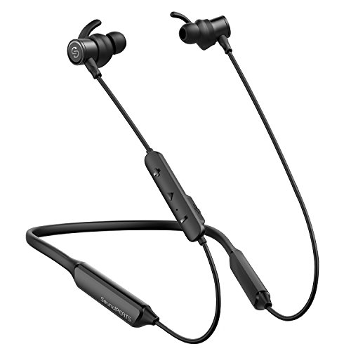 SoundPEATS Bluetooth Headphones, Force Wireless Neckband Headset Stereo Bass in-Ear Magnetic Earbuds for Workout 16 Hours Playtime, Built-in Mic, CVC 6.0, IPX7