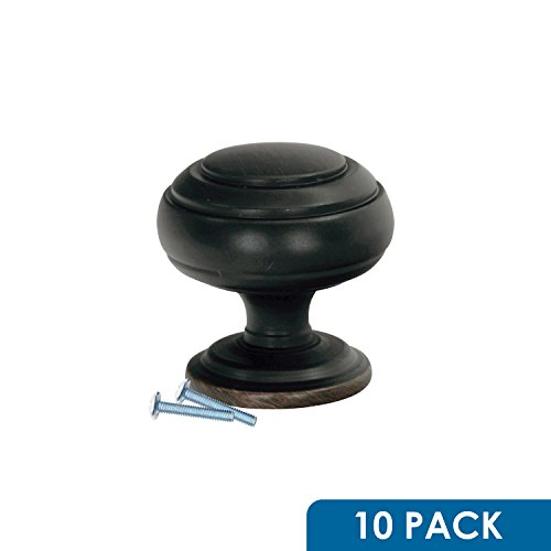 Rok Hardware Classic Ring Round Style Metal 1-1/4 (32mm) Decorative Kitchen Vanity Dresser Cabinet Drawer Door Knob Brushed Oil-Rubbed Bronze K30232BORB (10 Pack)