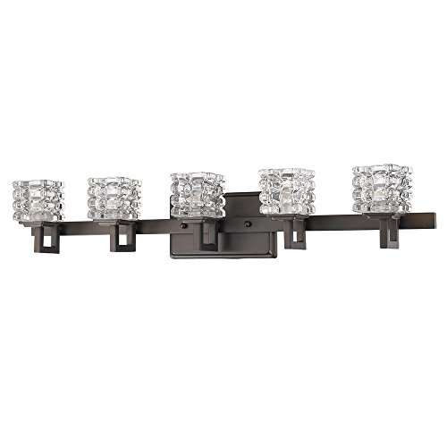 Bronze Classic Crystal - Acclaim Lighting IN41317ORB Coralie Indoor 5-Light Bathroom Sconce with Crystal Glass Shades, Oil Rubbed Bronze