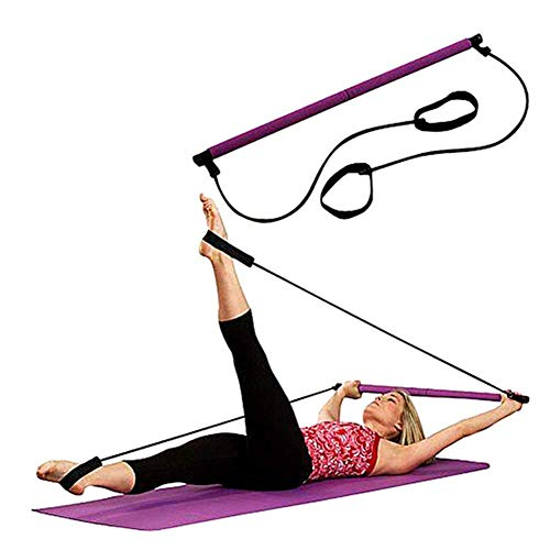GXSQLW Resistance Loop Exercise Bands, Pilates Bar Elastic Rope Total Body Workout Toning Bar, Booty Exercise System for Yoga, Stretch, Sculpt, Twisting, Sit-Up Bar Resistance Band