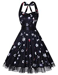 oten Women Vintage Polka Dot Floral 1950s Halter Rockabilly Cocktail Party Dress