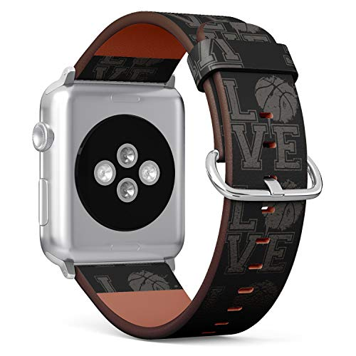 (Typographical Text I Love Basketball) Patterned Leather Wristband Strap for Apple Watch Series 4/3/2/1 gen,Replacement for iWatch 42mm / 44mm Bands