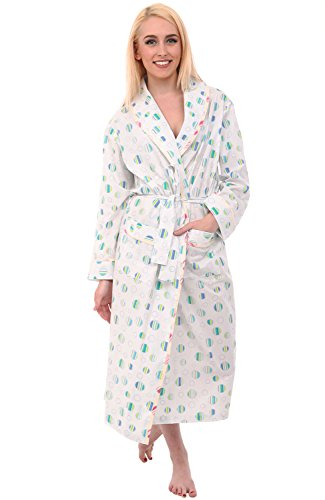 Alexander Del Rossa Women's Lightweight Cotton Kimono Robe, Summer Bathrobe, Medium Blue Striped Dots (A0515V26MD)
