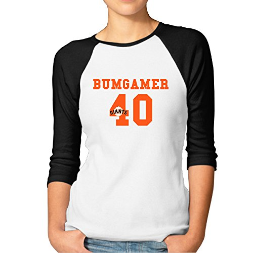 P-Jack Women's Madison Cool Bumgarner 3/4 Sleeve Raglan Baseball Tee Black L