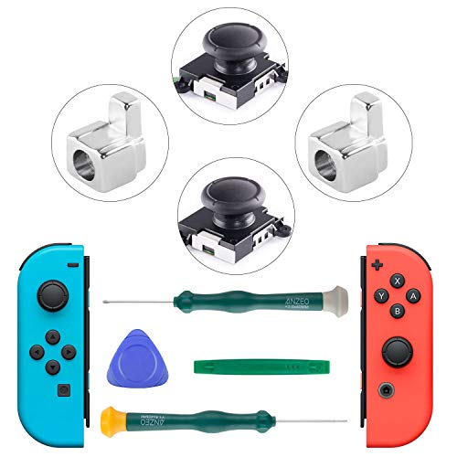 COBUY 3D Replacement Analog Joystick Thumb Sticks for Nintendo Switch Joy Con Include Tri-Wing & Cross Screwdriver Repair Tool Kit + 2 Nintendo Switch Joy Con Grip Metal Lock Buckles