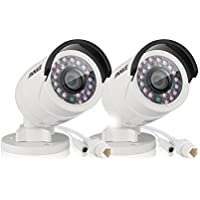 Annke 2-Packed 30M/100Feet Super Day/Night CCTV Cameras, 4.0 Megapixels HD Resolution Surveillance PoE IP camera (White)
