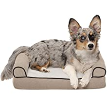 FurHaven Pet Dog Bed | Memory Foam Faux Fleece & Chenille Couch Sofa-Style Pet Bed for Dogs & Cats, Cream, Small