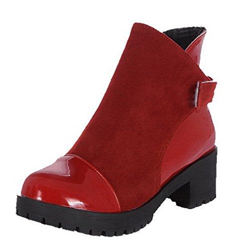 AgooLar Damen Rein PU Mittler Absatz Ziehen auf Stiefel, Rot, 42