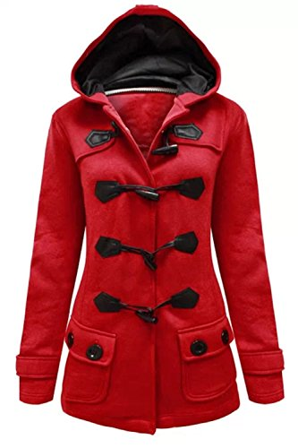Womens Ladies Fleece Hooded Hood Duffle Trench Front Pockets Buttons Coat Jacket -