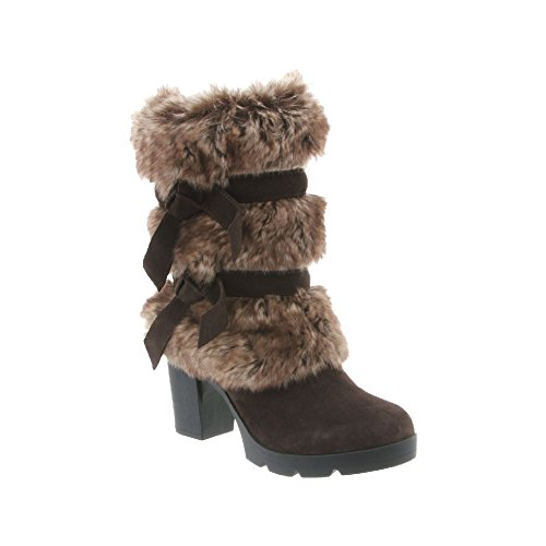 BEARPAW Women's Bridget Snow Boots, Brown Suede, Faux Rabbit Fur, Sheepskin Fur, Rubber, 7.5 M (Womens Wedge Sheepskin Suede)