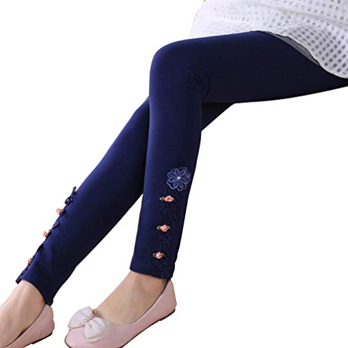 Flower Lace Leggings - DealHouse Girls Winter Warm Fleece Lined Cotton Skinny Leggings Pants Lace Flowers Navy(Thin) Size 130(Height 120cm/47,Age 8 Years)