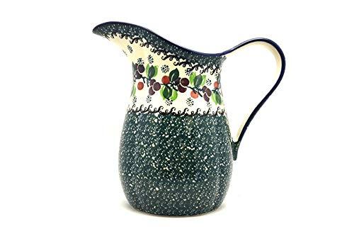 Polish Pottery Pitcher - 1.25 quart - Burgundy Berry Green ()