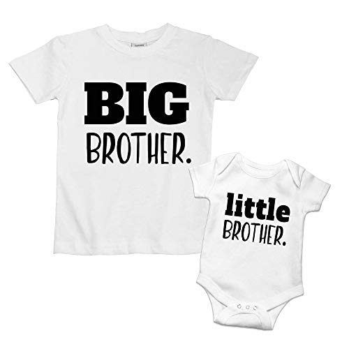 Little Brother Outfit Big Brother Shirts Newborn Baby Boys Matching Announcement (White (LB), 1-3 Months)