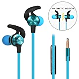 in-Ear Earphones, Wired Earbuds Mic Volume Control, Anlyso Magnetic Metal Stereo Bass Noise Cancelling Headphones Sports Sweatproof Headsets Gym Running Workout (Blue)
