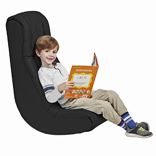 Soft Floor Rocker – Cushioned Ground Chair for Kids Teens and Adults – Great for Reading, Gaming, Meditating, TV – Black