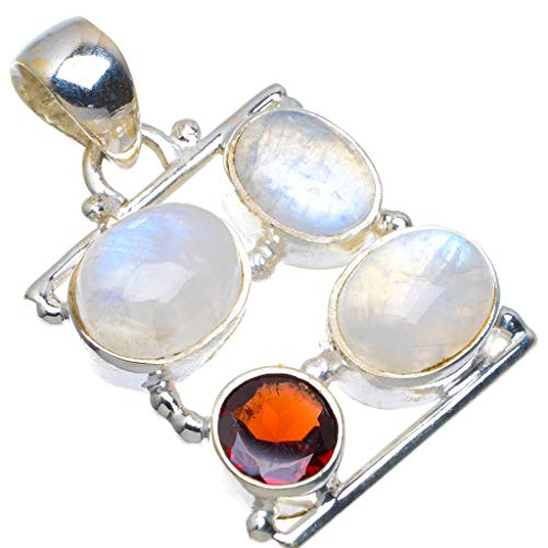 Natural Rainbow Moonstone and Garnet Handmade Unique 925 Sterling Silver Pendant 1.25