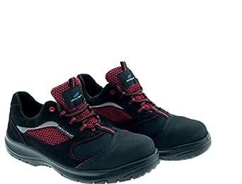 Aboutblu 1933303LA S1P SRC DGUV 112-191, Flexie, Zapato de seguridad antiestático, Unisex, rojo/negro, piel, talla 38
