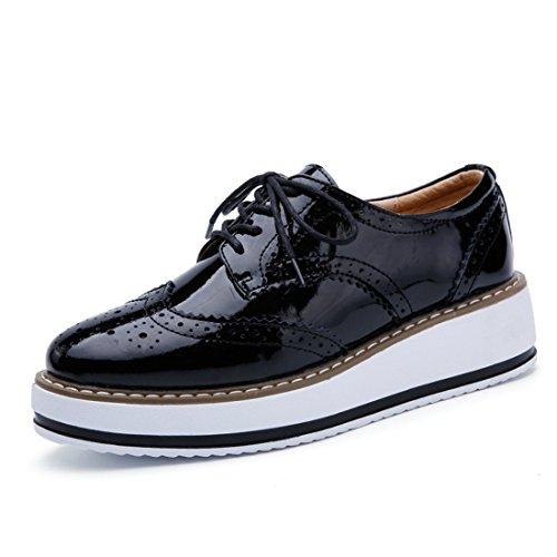 Femmes Casual Workwear Classique En Cuir Multicolore Vintage Chaussures Oxford 366 Noir