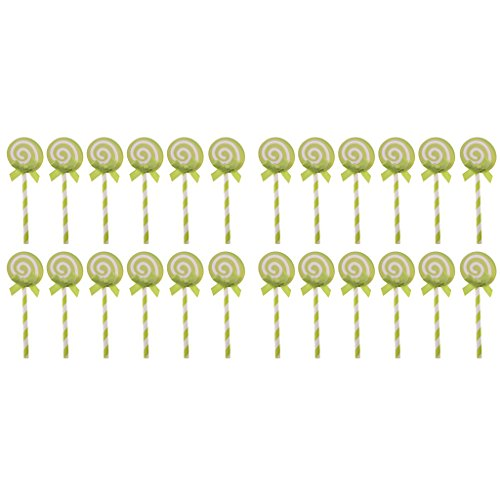 Jili Online Pack of 24 Lovely Lollipop Balloon Swirl Cake Cupcake Topper Card Making Cake Decor Photo Prop - Green, One Size ()