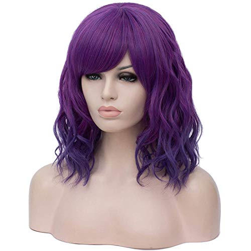 Asincbd Short Purple Wigs for Women Curly Wavy Pastel Color Wig with Oblique Bangs Synthetic Hair Cosplay Party Costume Wigs AD003PR