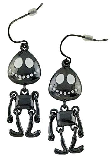 Black Smiling Pumpkin Jack Skeleton Halloween Earrings | Cool Cut White Eyes Drop Dangle Studs for (Cut Eye Halloween)