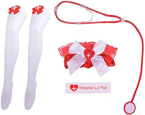 Nurse Halloween Cosplay Stockings Stethoscope Nurse Cosplay Prank Toy Set (Ocean Themed Halloween Costumes)