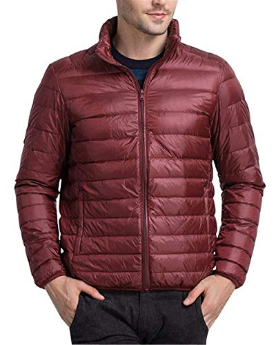 Long Outerwear Zipper Dunkelrot Warm Jacket Men's Sleeve Quilted Unique Jacket Men with Winter Jacket Down Coats v4qxR674w
