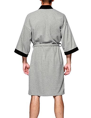 e24241dc0d Haseil Men s Turkish Cotton Bathrobe Waffle Kimono Terry Cloth Hotel ...