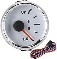 Trim Gauge, 52mm/2in UP-DN Boat Trim Gauge 0-190ohm Signal Trim Tilt Indicator Red Backlight(White Dial Silver