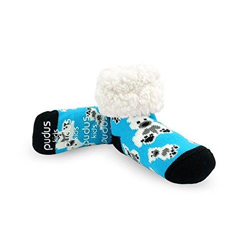 Pudus Polar Bear Kids Non-Slip Slipper Socks Grippers & Fleece Lining (Polar Feet Slippers)