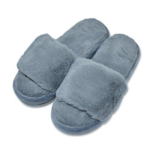 COFACE Womens House Slippers Winter Warm Faux Fur Flip Flop Soft Slide Flat Slip-on Shoes,Gray-38/39 ()