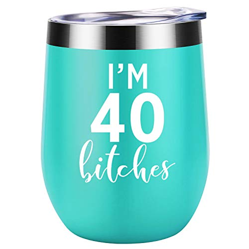 I'm 40   Funny 40th Birthday Gifts For Women   Best Turning 40 Year Old Birthday Gift Ideas for Wife, Mom, Sisters, Her, Friends, Coworkers   Coolife 12 oz Stainless Steel Wine Tumbler Insulated Cup