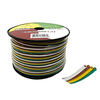 Amazon.com: Flat Trailer Light Cable Wiring Harness 25ft 14 Gauge 4 ...
