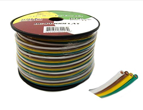 Wishbone Trailer Harness - Flat Trailer Light Cable Wiring Harness 100 Feet 14 AWG 4 Wire CCA