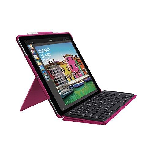 Logitech iPad Pro 12.9 inch Keyboard Case | Slim Combo: Detachable, Backlit, Wireless Keyboard with Smart Connector (Berry)