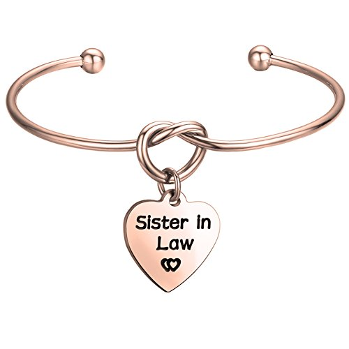 FEELMEM Sister in Law Gift Sister in Law Bracelet-Simple Love Knot with Heart-Shaped Charm Bangle Bracelet-Sister of The Groom Gift-Maid of Honor Gift-Wedding Jewelry(Heart Charm-Rose Gold) by FEELMEM