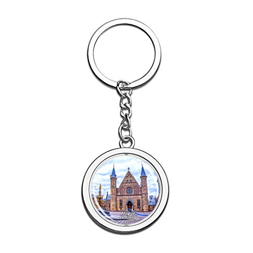 Inner Court & Hall of The Knights Hague Holland Netherlands Keychain 3D Crystal Spinning Round Stainless Steel Keychains Travel City Souvenir Key Chain Ring