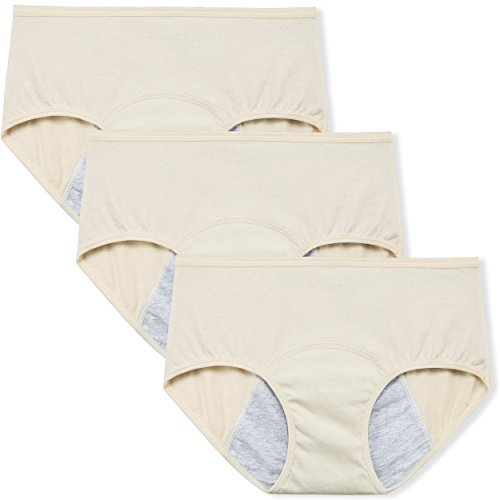 "Innersy Women's Big Girls' 3 Pack Postpartum Menstrual Period Protective Cotton Panties Underwear Hipsters (X-Large(Hip:42""-43.5""), 3 Beige)"