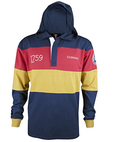 GUINNESS Navy Panelled Hooded Rugby Jersey,Navy / Red / (Cotton Hooded Jersey)