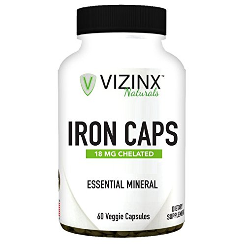 VIZINX IRON CAPS 18 mg 60 Veggie Caps- Choice form of organic chelated iron (Ferrous Fumarate) tends to cause fewer symptoms of intestinal upset and is considered to be a non constipating form of iron (Super Chelated Iron)