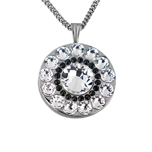 Girls Golf Bling Swarovski Crystal Golf Ball Markers with Magnetic Necklace - Premium Golf Gifts for Women (Black Horse Black)