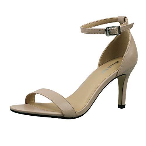(Kunsto Women's Classic Heel Dresses Sandals Nude Matte US Size 6)